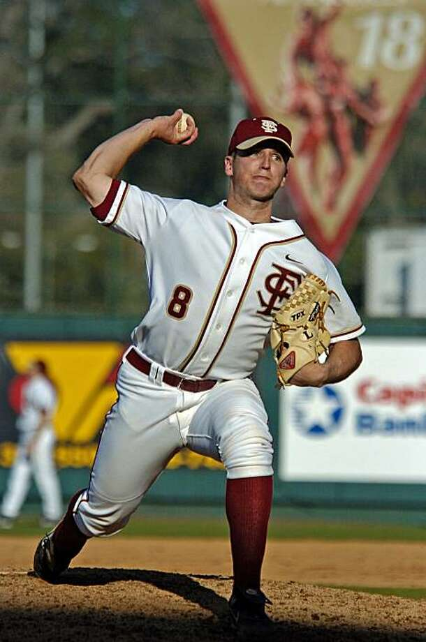 Buster Posey, pitching for Florida State. Photo: Courtesy Florida State Athletics