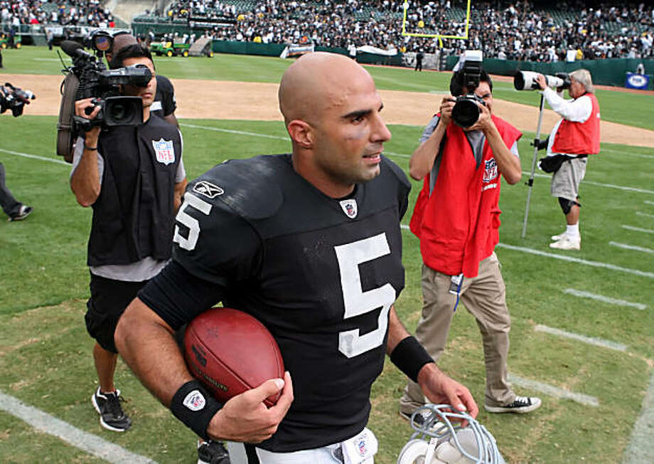 Raiders quarterback Bruce Gradkowski was named the starting quarterback for the team's game against the Arizona Cardinals after his performance on Sunday, September 19, 2010, against the St. Louis Rams at the Oakland-Alameda County Coiiseum in Oakland, Calif. Photo: Carlos Avila Gonzalez, The Chronicle