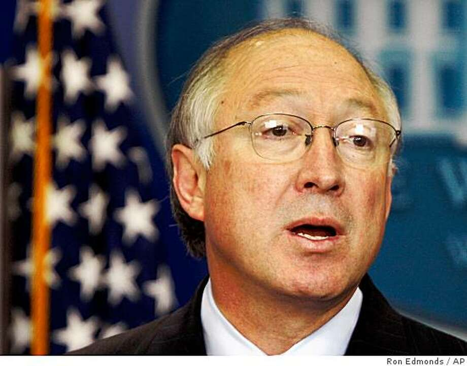 Interior Secretary Ken Salazar speaks about the Interior Department, Wednesday, Jan. 28, 2009, during the White House daily press briefing at the White House in Washington. (AP Photo/Ron Edmonds) Photo: Ron Edmonds, AP