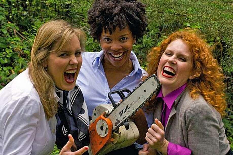 "Eleanor Mason Reinholdt (Peaches), Khamara Pettus (Ashley),  and Marilee Talkington (Dawn/Buzz) plan mayhem in ""The Secretaries."" Photo: Abie Hadjitarkhanii"