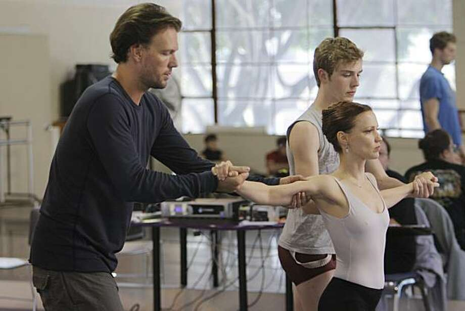 Choreographer, Trey McINtyre, rehearses with Smuin Ballet dancers  Erin Yarbourgh-Stewart and Ben Behrends for the world premier of his new ballet created for the company, Sept. 8, 2010, in San Francisco, Calif. Photo: Adm Golub, The Chronicle