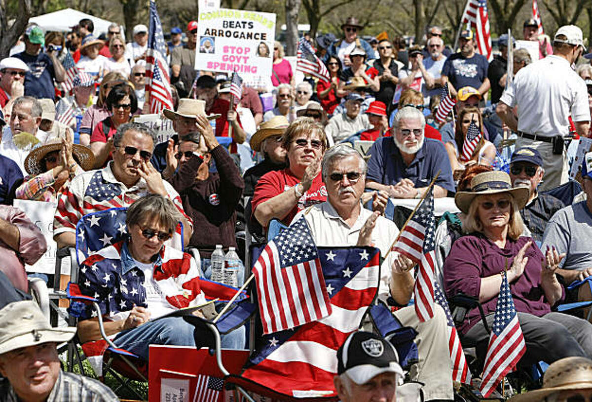 The Tea Party rally at the Alameda County Fairgrounds drew thousands on Thursday.