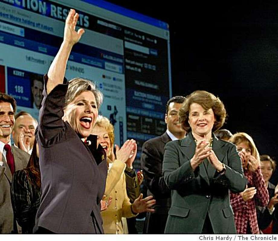 Diane Feinstein claps and Barbara Boxer cheers at her victory celebrationSan Francisco,CA on 11/2/04San Francisco Chronicle/Chris Hardy Photo: Chris Hardy, The Chronicle