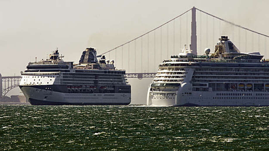 Cruise ships, Celebrity Millennium, (left) is inbound into the San Francisco Bay, while the Radiance of the Seas departs, Wednesday Sept. 22, 2010.  When Crystal Cruises inc. last came to San Francisco in 2005, the industry was booming: more than 200,000 passengers on 84 ships rolled into San Francisco Bay. The City of San Francisco says those numbers have reaches new lows, only 41 ships are scheduled to make calls here. Next year the numbers are getting better with 57 ships already planning on making stops here. Photo: Michael Macor, The Chronicle