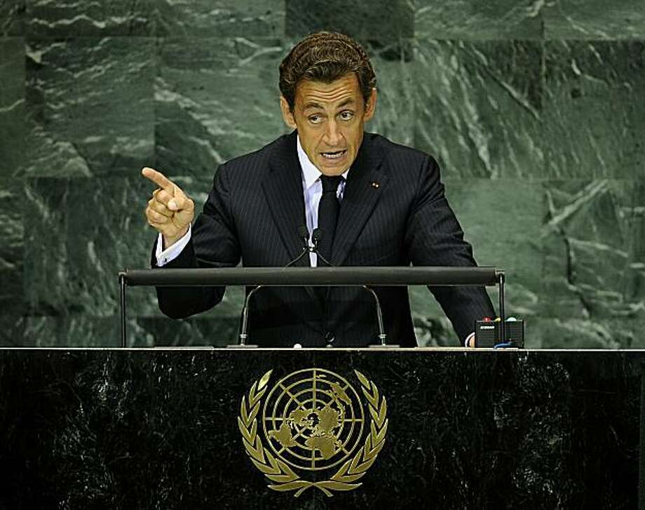 French President Nicolas Sarkozy addresses the Millennium Development Goals Summit at the United Nations headquarters in New York, September 20, 2010. Sarkozy on Monday called for a tax on all financial transactions at the UN Millennium Goals summit to pay for global development. Photo: Emmanuel Dunand, AFP/Getty Images