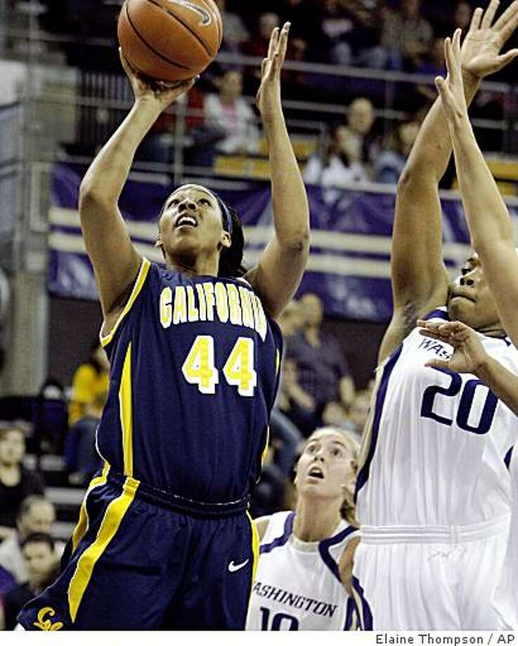 California's Ashley Walker (44) gets off a shot in front of Washington's Liz Lay (20) and Kristi Kingma in the first half of an NCAA college basketball game on Friday, Feb. 6, 2009, in Seattle. (AP Photo/Elaine Thompson) Photo: Elaine Thompson, AP