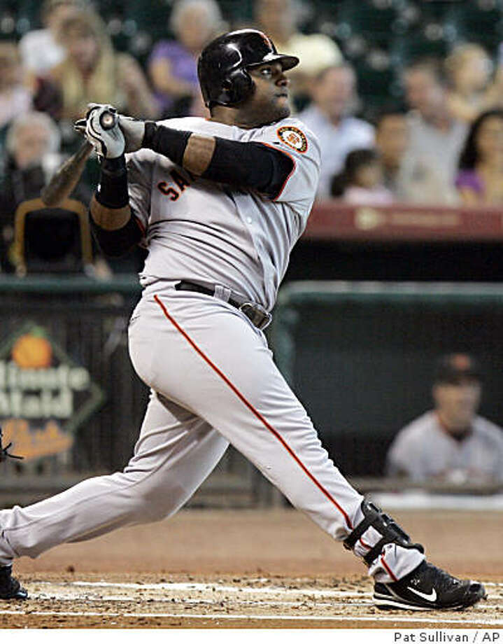 San Francisco Giants' Pablo Sandoval watches his sacrifice fly in the first inning against the Houston Astros in a baseball game Thursday, Aug. 14, 2008, in Houston. (AP Photo/Pat Sullivan) Photo: Pat Sullivan, AP