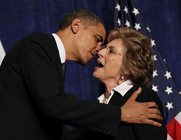 President Barack Obama greets Sen. Barbara Boxer, D-Calif., before speaking at a fundraiser in San Francisco Tuesday, May 25, 2010. Photo: Alex Brandon, AP