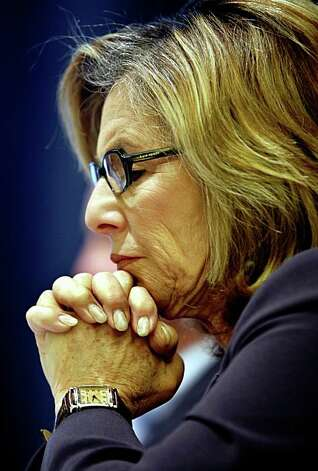 Sen. Barbara Boxer listens to comments from Interior Secretary Ken Salazar after making her own statement at a public hearing convened by the Department of the Interior to address offshore oil drilling in San Francisco, Calif., on Thursday, April 16, 2009. Photo: Paul Chinn, The Chronicle