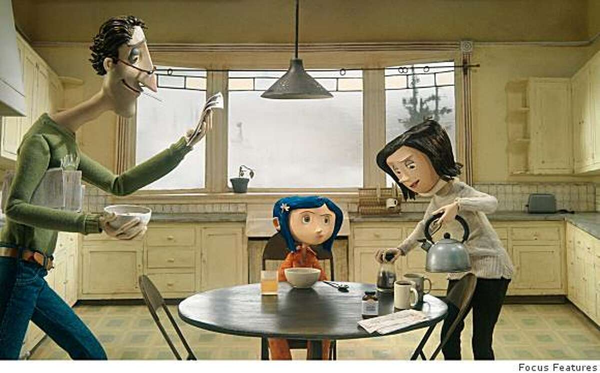 "Coraline and her parents in Henry Selick's ""Coraline."""