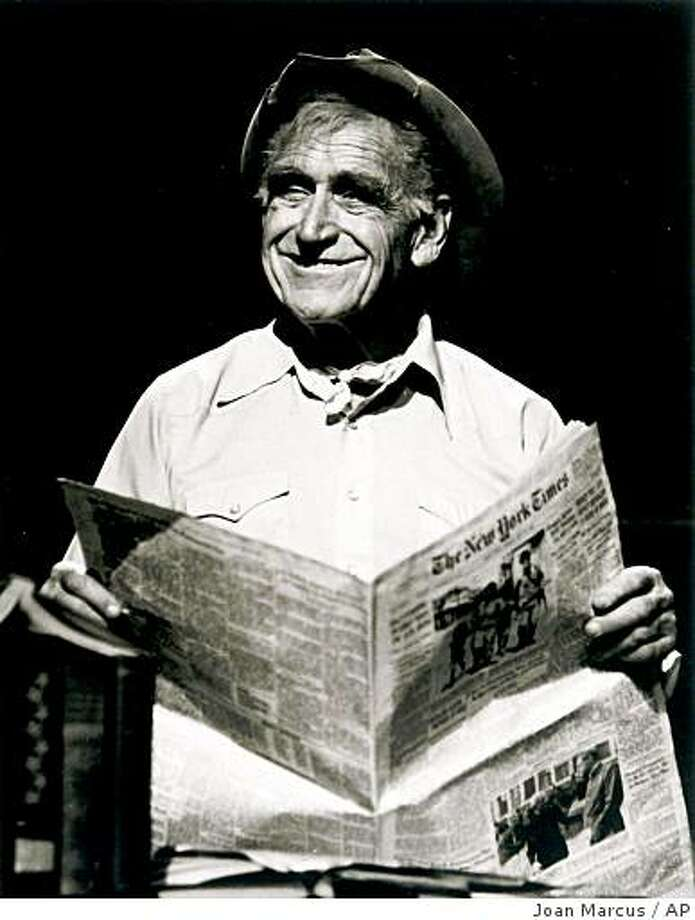 "** FILE ** In this Feb. 27, 2000 file photo originally provided by Ford's Theatre, actor James Whitmore plays Will Rogers in ""Will Rogers' U.S.A."", a one-man show on the cowboy humorist at Ford's Theatre in Washington. Whitmore, a Tony-and Emmy-winning actor, who was also nominated for an Oscar, died of lung cancer, Friday, Feb. 6, 2009, in his Malibu home, according to his son Steve Whitmore. (AP Photo/Ford's Theatre, Joan Marcus, file) ** NO SALES ** Photo: Joan Marcus, AP"