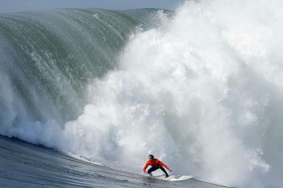 Chris Bertish finishes his winning ride in the final heat of the Mavericks Surf Contest. Surfers from around the globe braved the 50-foot-high swells at Mavericks Surf Contest in Half Moon Bay, Calif., on Saturday, February 13, 2010. Chris Bertish of South Africa was selected the winner. Photo: Carlos Avila Gonzalez, The Chronicle