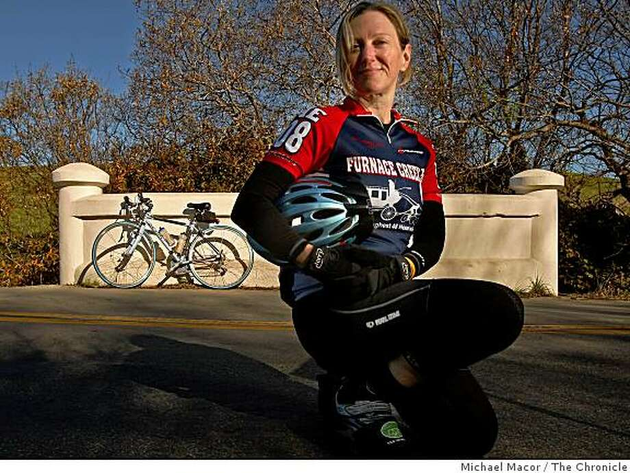 Tina Waitzman, an endurance rider who is also an emergency room veterinarian, in the town of Pescadero, Calif., getting ready for the 200 mile long Death Valley Double Century ride next month. Photo: Michael Macor, The Chronicle