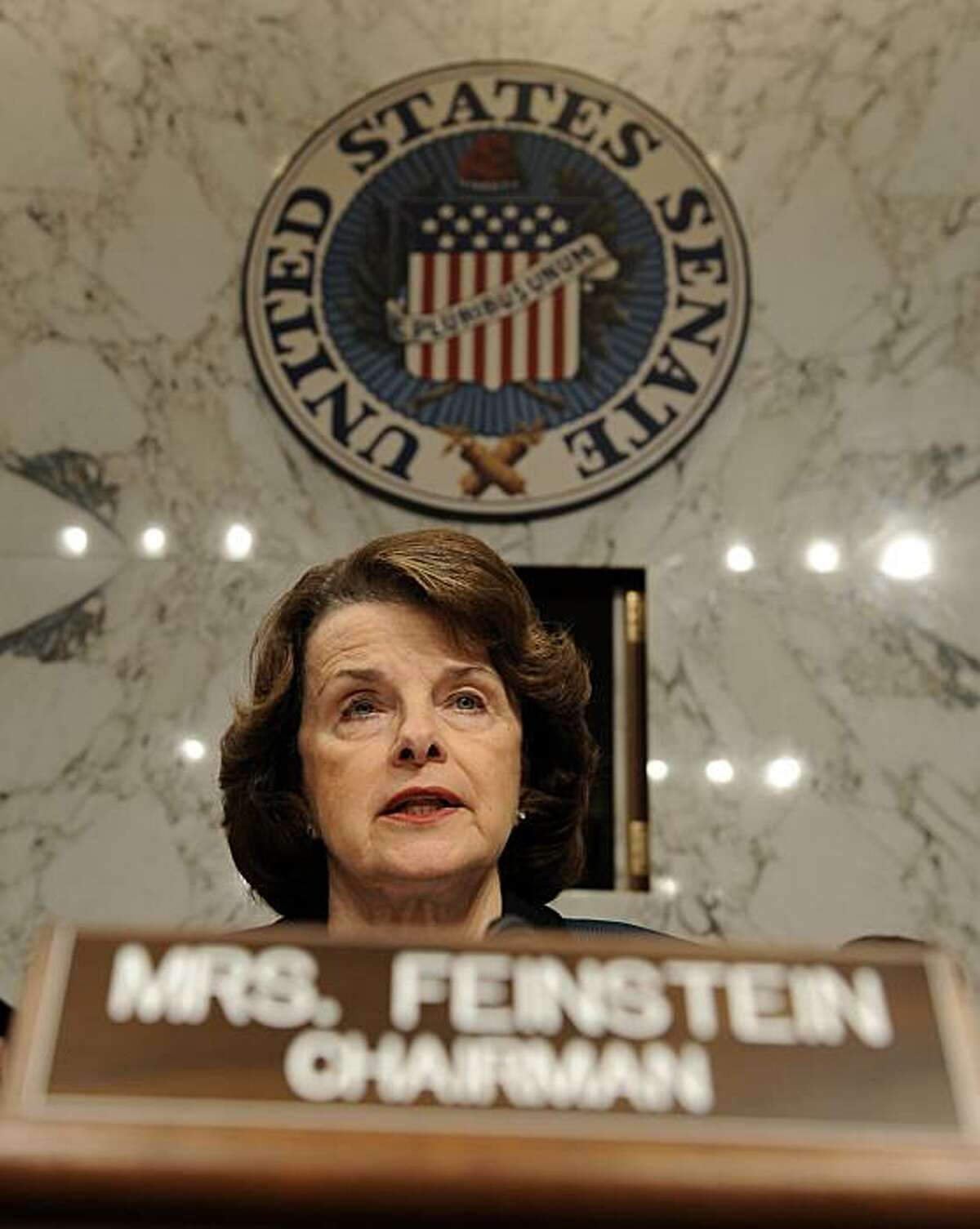 Senate Intelligence Committee Chairwoman Sen. Dianne Feinstein, D-Calif. delivers her opening remarks on Capitol Hill in Washington, Thursday, Jan. 22, 2009, during the committee's nomination hearing for National Intelligence Director-designate Dennis Blair. (AP Photo/Susan Walsh)