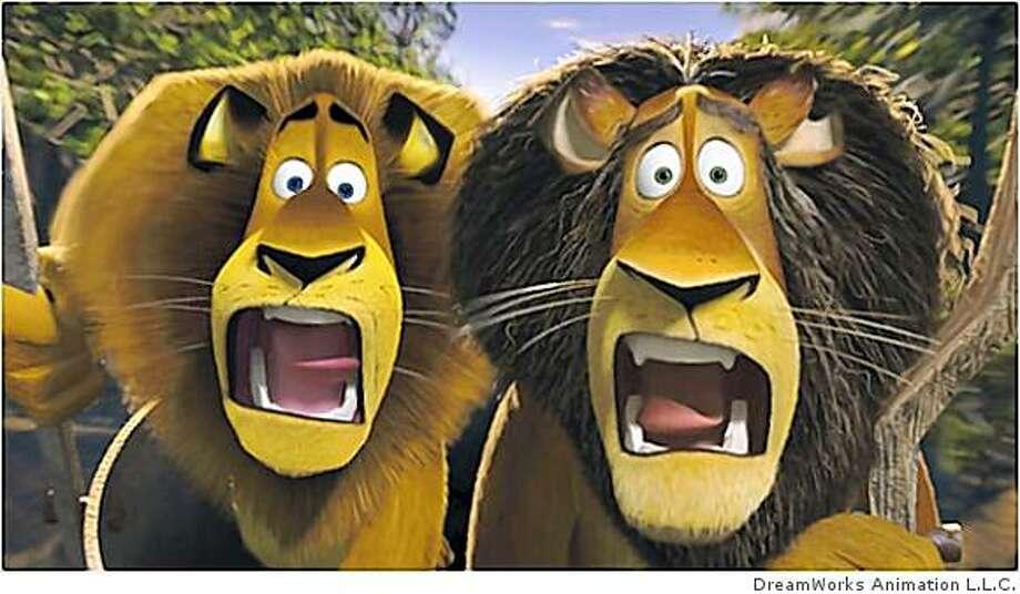 Alex the lion and his father Zuba reunite in Madagascar 2. Photo: DreamWorks Animation L.L.C.