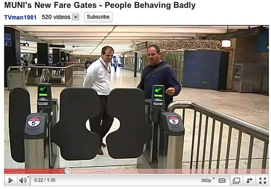 YouTube video shows Muni gates allowing riders to evade fares by waving their hand in front of the gate. Photo: Youtube.com