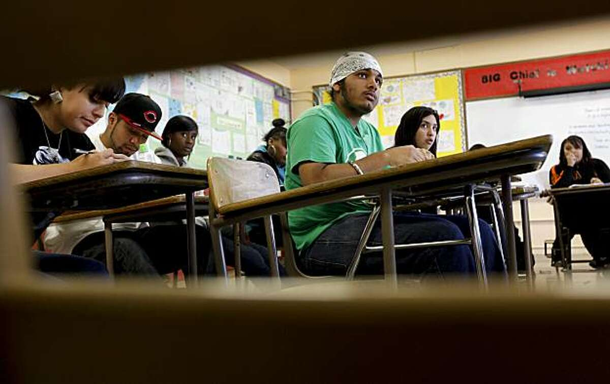 Sunny Singh, (center) listens during 11th and 12th grade English class, being taught by instructor Olive Mitra, on Tuesday Sept. 14, 2010 at the June Jordan School of Equity in San Francisco, Calif.