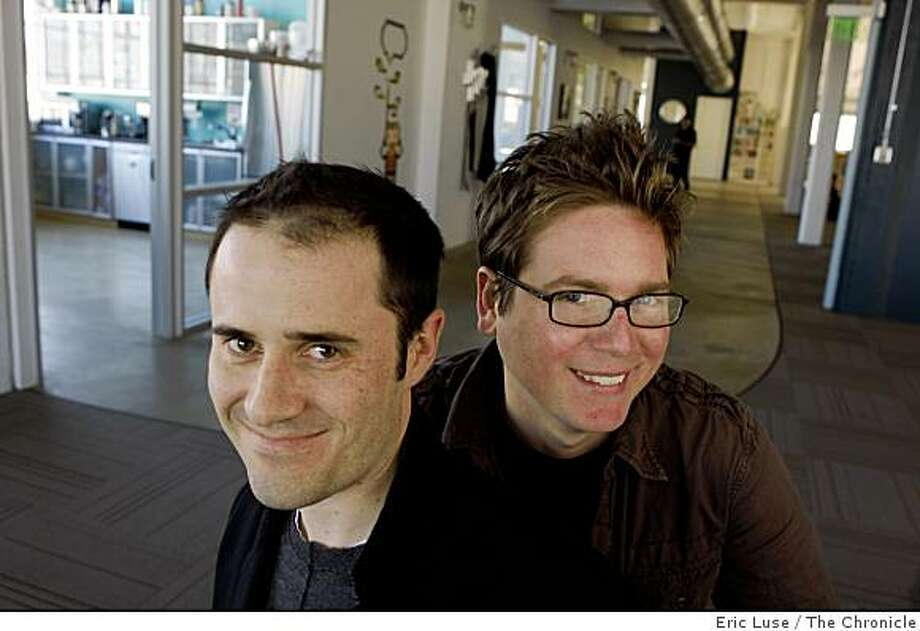 Twitter.com CEO Evan Williams and Co-founder Biz Stone pose in their San Francisco office for a portrait on Tuesday,  January 27, 2009. Photo: Eric Luse, The Chronicle