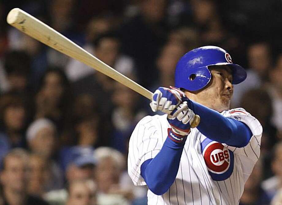 Chicago Cubs' Kosuke Fukudome, of Japan, follows through on a solo home run against the San Francisco Giants during the third inning of a baseball game Wednesday, Sept. 22, 2010, in Chicago. Photo: Nam Y. Huh, AP
