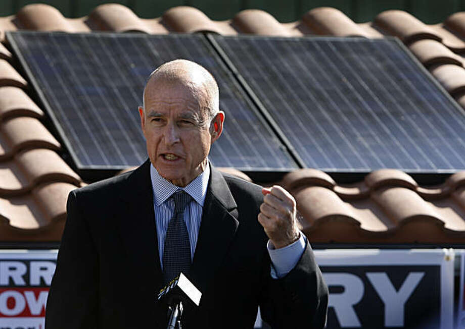 California Attorney General and Democratic gubernatorial candidate Jerry Brown visits the PetersenDean Roofing company in Newark, Calif., on Thursday, Sept. 23, 2010, where he spoke out against Proposition 23. Photo: Paul Chinn, The Chronicle