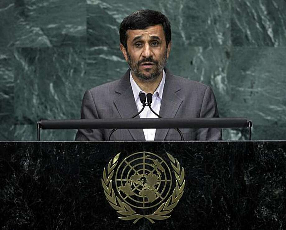 Mahmoud Ahmadinejad, President of Iran, addresses a summit on the Millennium Development Goals at United Nations headquarters on Tuesday, Sept. 21, 2010. Photo: Richard Drew, AP