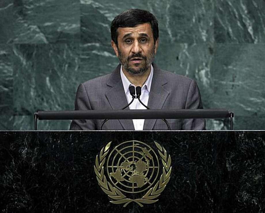 Mahmoud Ahmadinejad, President of Iran, addresses a summit on the Millennium Development Goals at United Nations headquarters on Tuesday, Sept. 21, 2010. Photo: Richard Drew, AP