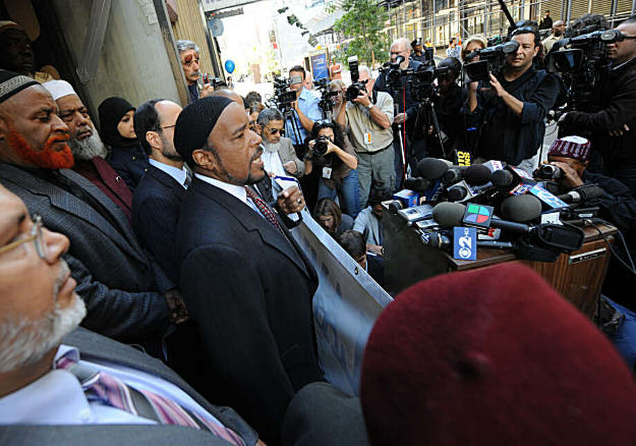 Imam Mahdi Bray, executive director of the Muslim American Society, speaks at a news conference in front of the proposed Islamic center and mosque site near ground zero, Monday, Sept. 20, 2010, in New York. A number of local and national American Muslim leaders spoke at the site to support efforts to build an Islamic center at 51 Park Place. Photo: Louis Lanzano, AP