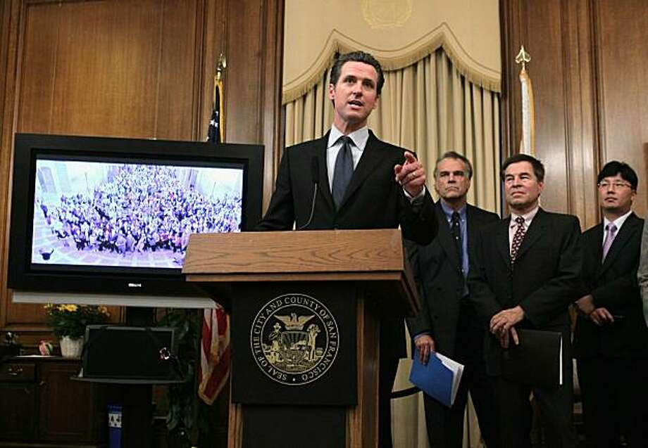 SAN FRANCISCO - SEPTEMBER 02:  San Francisco Mayor Gavin Newsom speaks during a news conference about federal stimulus funds for the JOBSNOW! program September 2, 2010 in San Francisco, California. San Francisco Mayor Gavin Newsom held a news conference with local business leaders to kick off a national effort to urge the U.S. Congress to extend stimulus funds for San Francisco's JOBSNOW! program that expires on September 30. JOBSNOW! and similar programs have put more than 250,000 people back to work in37 states. Photo: Justin Sullivan, Getty Images