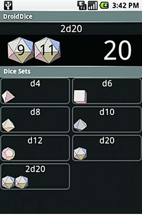 Droid Dice is an app for Androids. Photo: Frame Grab From Sfgate
