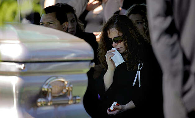 Rene Morales mourns her daughter's death as friends and family say goodbye to Jessica Lynne Morales at her funeral on, Monday Sept. 20, 2010, at the Woodlawn Memorial Park in Colma, Calif. Jessica, 20, was one of the victims killed in the pipeline explosion in San Bruno. Photo: Lacy Atkins, The Chronicle
