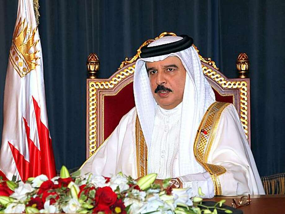 In this photo released by the government's Bahrain News Agency, Bahrain's King Hamad bin Isa Al Khalifa delivers a televised speech to the nation Sunday, Sept. 5, 2010, from Manama, Bahrain. What began last month with the arrest of an opposition leader inBahrain has mushroomed into a full-blown political offensive in the tiny Gulf nation with big fault lines: U.S.-allied Sunni rulers against members of a Shiite majority being cast as coup plotters who could open the door to Iranian influence. Photo: AP