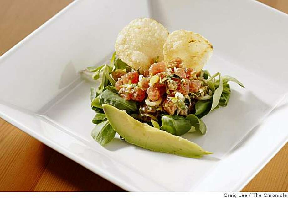 """""""Tuna Tartare, Inspired by Sicily and Jimmy Choo, in San Francisco, Calif., on January 22, 2009. Food styled by Cindy Lee. Photo: Craig Lee, The Chronicle"""