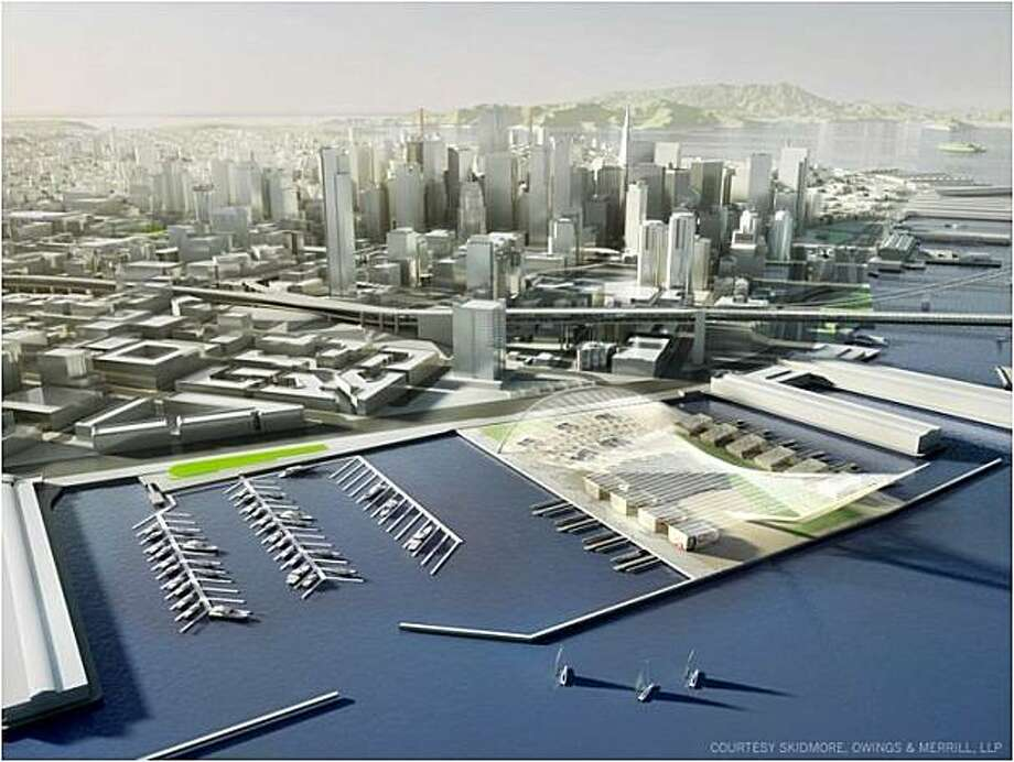 Artist renderings of Piers 30-32, now a parking lot, would be the main public area, with an amphitheater, JumboTron, concessions and hospitality bases where contestants would dock their boats to meet journalists and spectators before racing  Also, temporary slips would be built to house accompanying spectator boats. Photo: Skidmore, Owings & Merrill, LLP