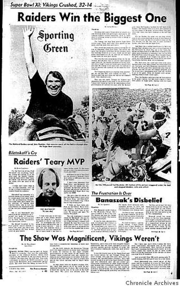 Jan. 9, 1977 - The Sporting Green told the story of how the Oakland Raiders won Super Bowl XI by soundly defeating the Minnesota Vikings, 32-14. The Raiders' head coach was John Madden, who today is best known as a TV analyst and for his video game. Photo: Chronicle Archives