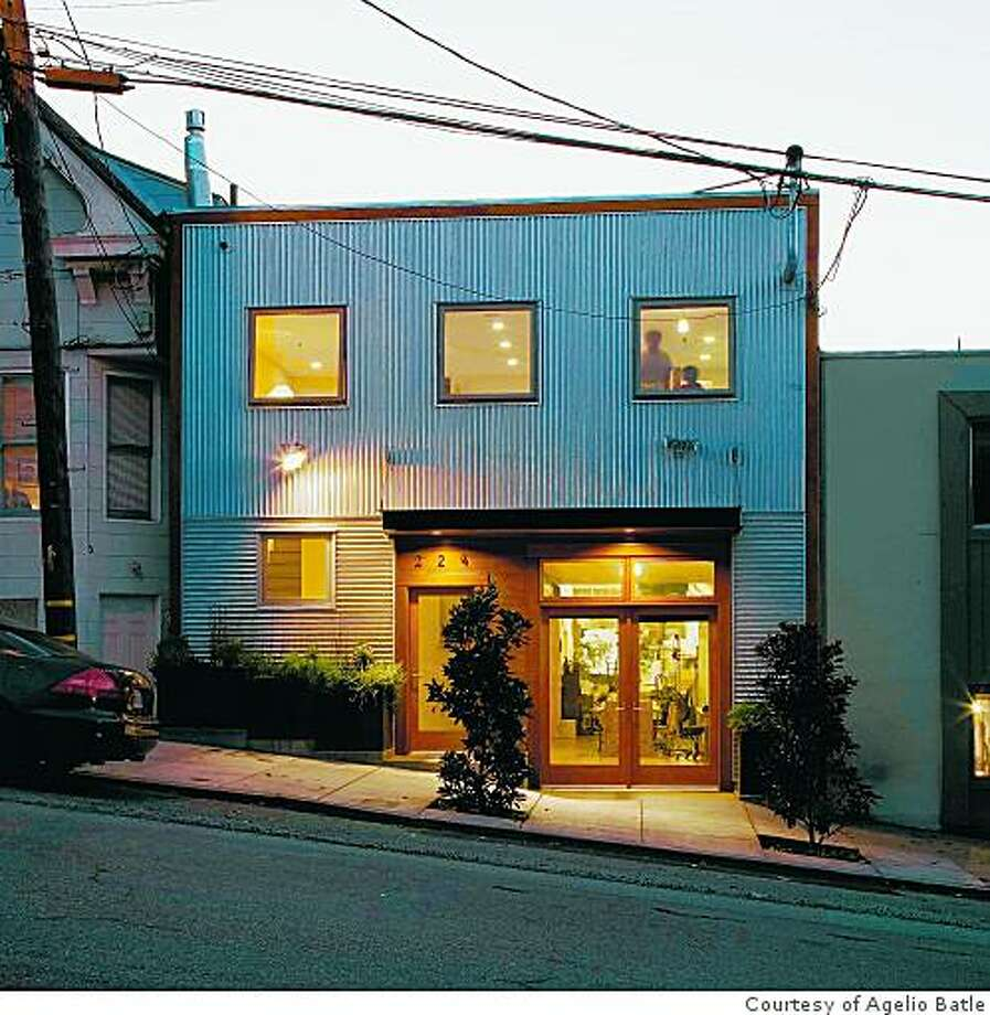Exterior of artist Agelio Batle's remodeled home on Potrero Hill using corrugated Galvalume metal siding. Photo: Courtesy Of Agelio Batle