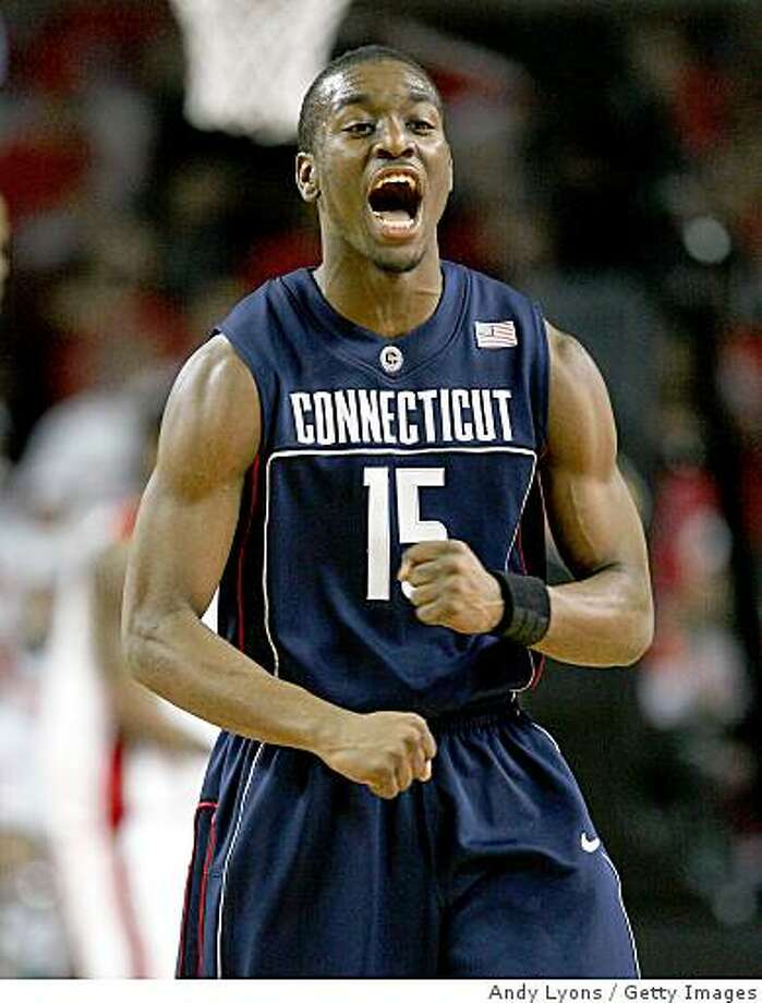 Connecticut's Kemba Walker celebrates during a Big East Conference game against the Louisville Cardinals on February 2, 2009 at Freedom Hall in Louisville, Kentucky. Photo: Andy Lyons, Getty Images