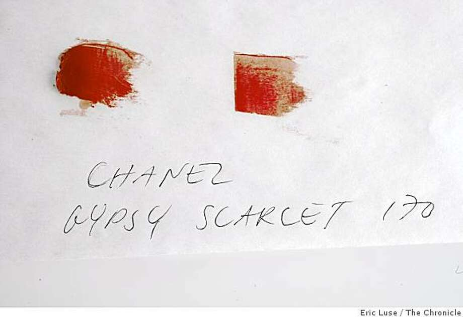 Lipstick colors on paper  photographed on Monday, January 4, 2009. Photo: Eric Luse, The Chronicle
