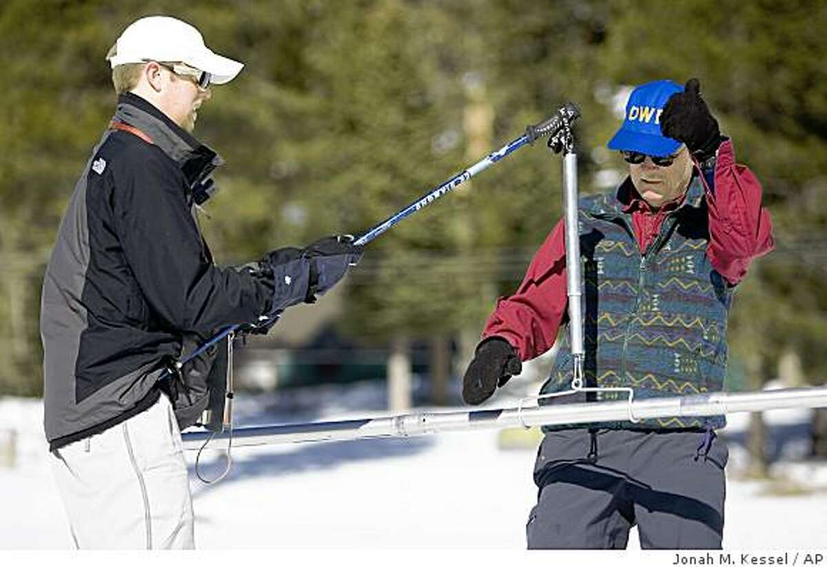Brian Heiland, left, and Frank Gehrke, scientists from California's Department of Water Resources measure the water content of the Sierra snowpack at Phillips Station, South of Lake Tahoe, Calif., Thursday, Jan. 29, 2009. The water content was 68 percent of average for the survey site.