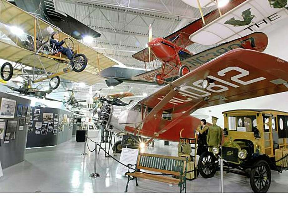 the interior of the Hiller Aviation Museum