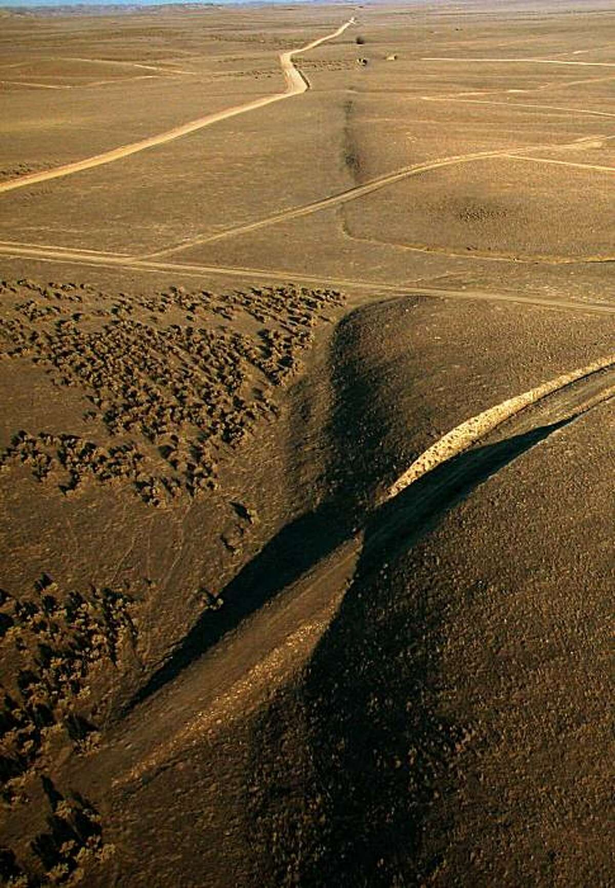 A view looking southeast along the surface trace of the San Andreas fault in the Carrizo Plain area of California.