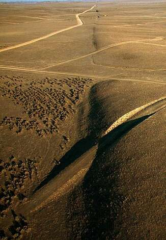 A view looking southeast along the surface trace of the San Andreas fault in the Carrizo Plain area of California. Photo: Scott Haefner, AP