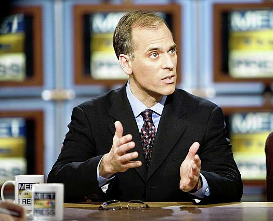 "WASHINGTON, DC - FEBRUARY 1:  (AFP OUT) Economist Mark Zandi of Moody's Economy.com speaks as he is interviewed by moderator David Gregory during a taping of ""Meet the Press"" at the NBC studios February 1, 2009 in Washington, DC. Zandi was speaking about the stimulus package being debated in Congress and the current economic crisis.  (Photo by Joshua Roberts/Getty Images for Meet the Press) Photo: Joshua Roberts, Getty Images For Meet The Press"