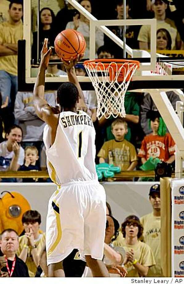Georgia Tech guard Iman Shumpert (1) shoots the game-winning shot to defeat Wake Forest during the second half of an NCAA college basketball game at Alexander Memorial Coliseum on Saturday, Jan 31, 2009 in Atlanta.  Tech won 76-74.  (AP Photo/Stanley Leary) Photo: Stanley Leary, AP