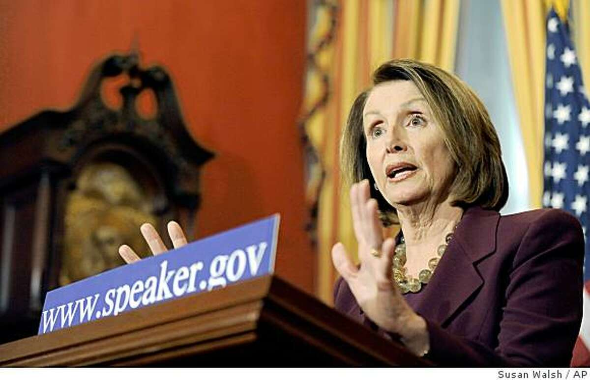 Speaker of the House Nancy Pelosi, D-calif., speaks during a news conference on Capitol Hill in Washington, Thursday, Jan. 29, 2009. (AP Photo/Susan Walsh)