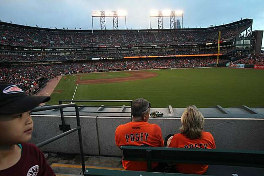 Bob and Marilyn Luna get a view of right field from their seats during the San Francisco Giants game against the Milwaukee Brewers on Friday Sept. 19, 2010 in San Francisco Calif. Photo: Mike Kepka, The Chronicle