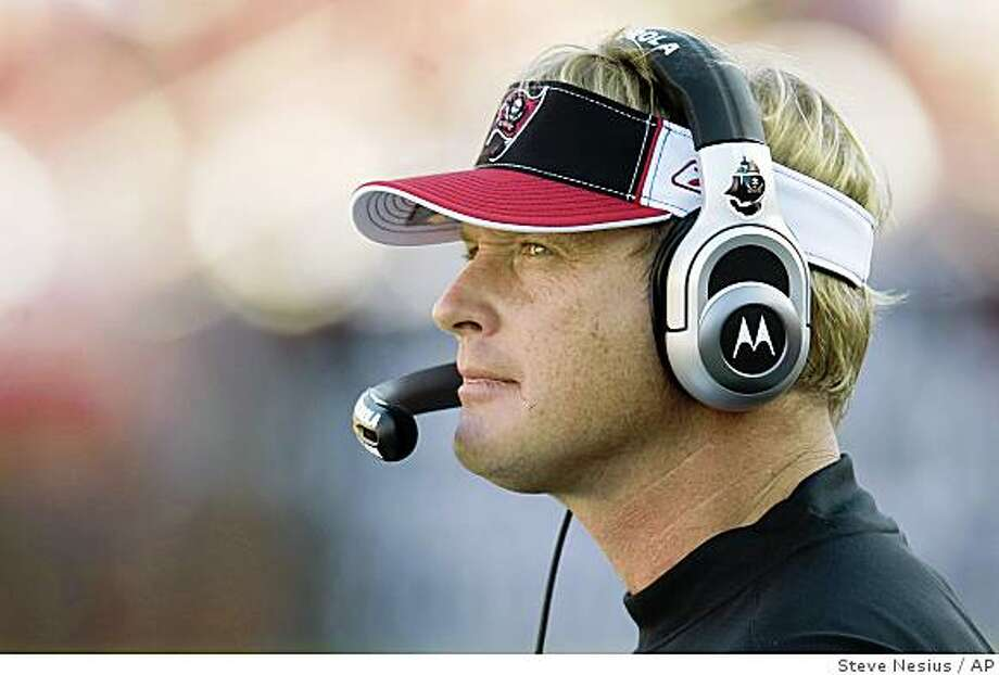 ** FILE ** In this Dec. 28, 2008 photo, Tampa Bay Buccaneers head coach Jon Gruden watches the game with the Oakland Raiders during their NFL football game in Tampa, Fla.  The Tampa Bay Buccaneers fired coach Jon Gruden and general manager Bruce Allen on Friday, Jan. 16, 2009,  after the team collapsed following a 9-3 start and failed to make the playoffs.  (AP Photo/Steve Nesius) Photo: Steve Nesius, AP