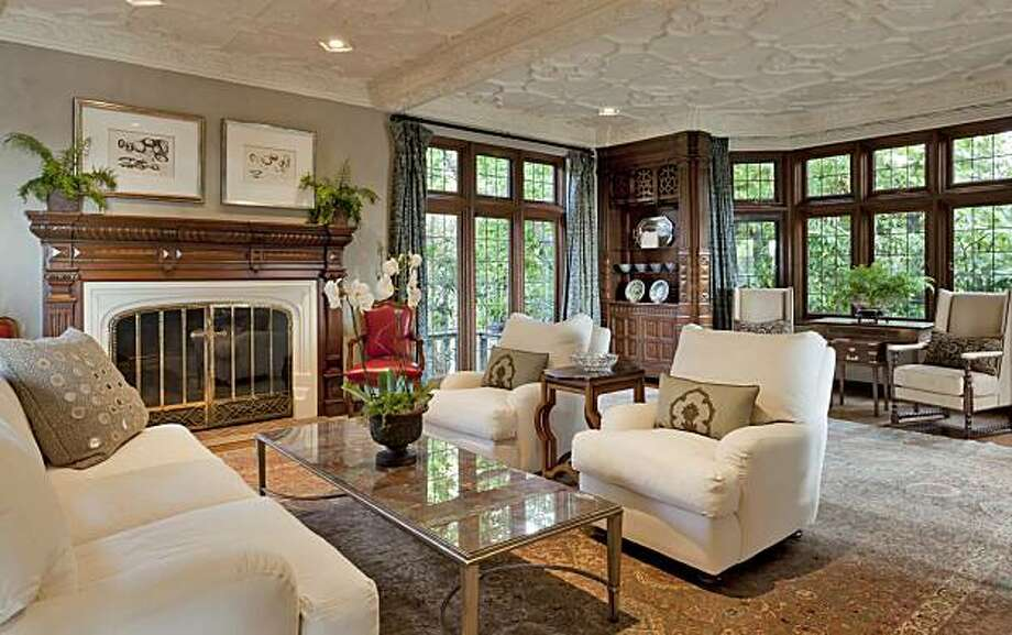 The living area at 55 Sea View Road in Piedmont, the home of the founder of Otis Spunkmeyer, for the real estate cover. Photo: Courtesy, Scott Hargis Photography