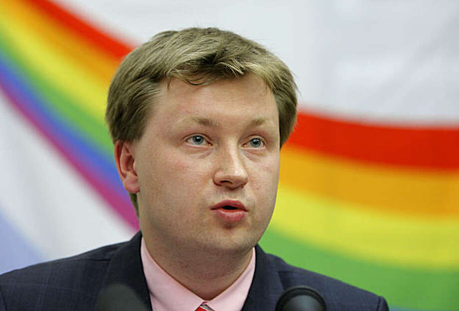 Russian gay activist Nikolai Alexeyev speaks at a news conference in Moscow, Russia, Thursday, May 27, 2010. Russian gay rights activists say they will hold a rally outside the European Union's office in Moscow to protest what they say is a lack of support from the EU and its member states. (AP Photo/Alexander Zemlianichenko) Photo: Alexander Zemlianichenko, ASSOCIATED PRESS