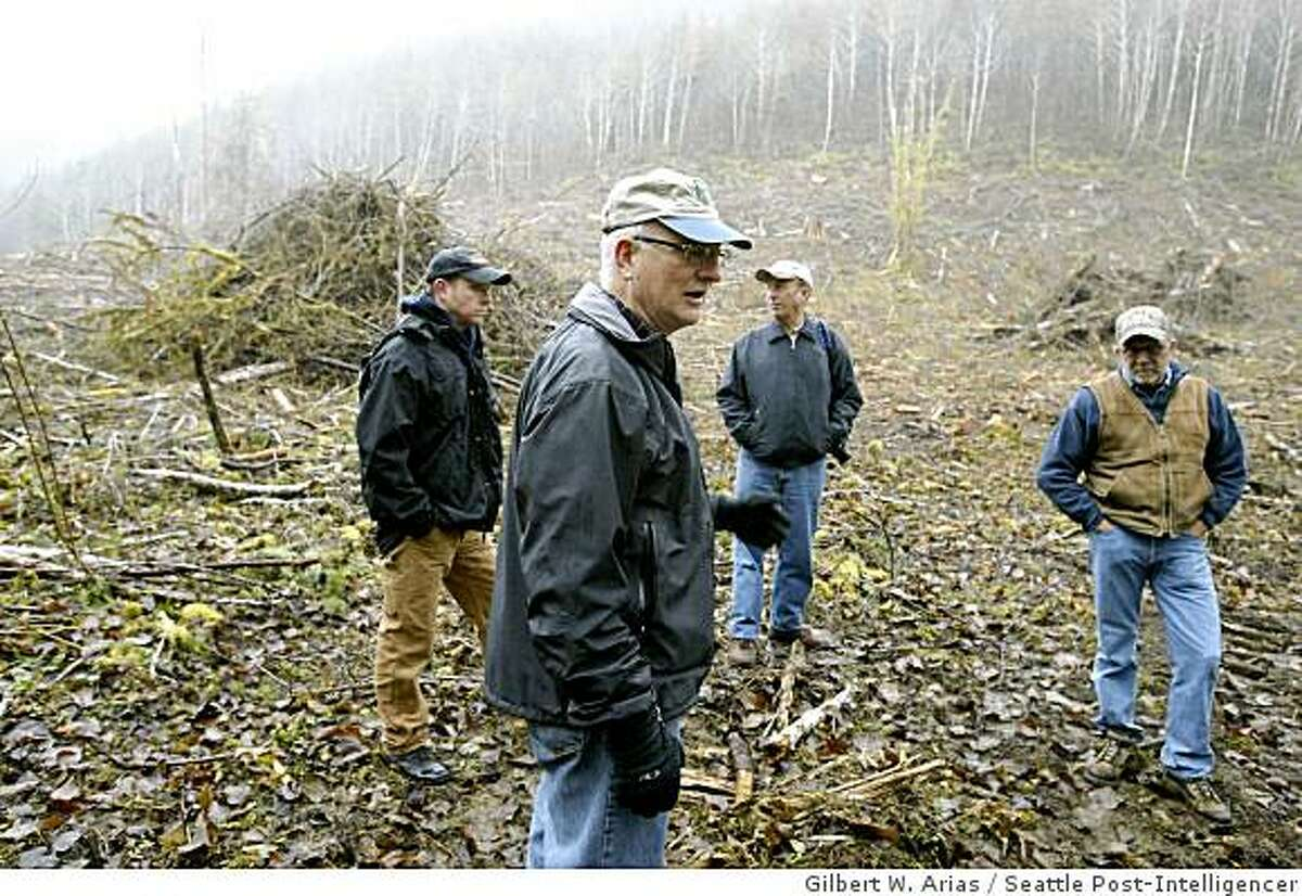 Jimmy Collins, center, council president of the Boy scouts of America Pacific Harbors Council, with Dan Collett, left, camp ranger, Doug Dorr properties committee chairman, center back, and Joe Staley right forestry consultant tour a recent timber harvest at Camp Delezene Boy Scout camp near Elma Wash on Tuesday November 25, 2008. Collins in among several current and former Weyerhauser employees that approved this clearcut which led to a payment to Weyerhauser to use of logging roads. (Photo/Seattle Post-Intelligencer, Gilbert W. Arias)