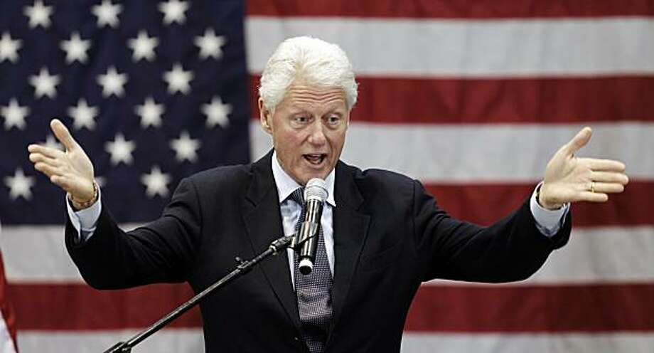 Former President Bill Clinton speaks at a rally for Ohio Democratic Gov. Ted Strickland Tuesday, Sept. 14, 2010, in Cleveland. Clinton said Strickland has created an award-winning economic development program for Ohio and should be re-elected. Photo: Tony Dejak, AP